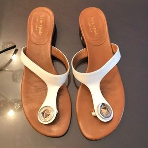 Kate spade luggage leather and white sandal